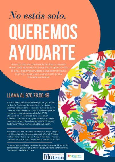 ASAPME y el Ayuntamiento de Utebo suman sus fuerzas para prestar un servicio de ayuda psicológica a la población infanto juvenil del municipio zaragozano